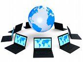 Global Network Indicates Digital Globe And Internet