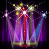 Red Stage Represents Beam Of Light And Colorful