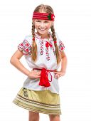 picture of national costume  - cute happy  little girl in the national Ukrainian costume isolated over white - JPG