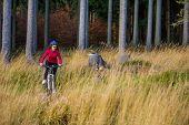 Girl biking on forest trails