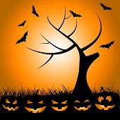 Bats Tree Means Trick Or Treat And Autumn
