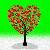 Hearts Tree Means Valentine's Day And Environment