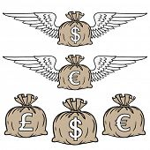 Stylized illustration of moneybags filled with different currencies.