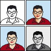 Vector Illustration of Student Pixel Avatar