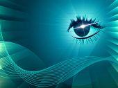 Eye Twirl Indicates Light Burst And Artistic