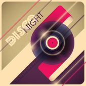 Illustrated disco night background. Vector illustration.