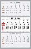 2015 may with red dating mark - current marked holiday is Mother's Day - vector illustration