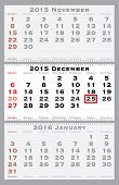 2015 december with red dating mark - current marked holiday is Christmas - vector illustration