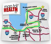 A road map to good health with a route marked by words doctor's advice, consumer appropriate calorie