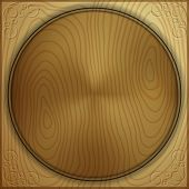 Vector abstract wood background with carved circle
