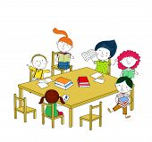 Children write and read, sitting at the table.
