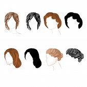 Set Hair  Natural And Silhouette Vector