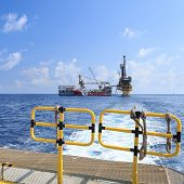 picture of barge  - Tender Drilling Oil Rig  - JPG