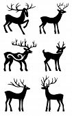 Six Deer Standing Vector Silhouettes