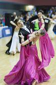 Minsk-belarus, February, 22: Unidentified Dance Couple Performs Youth-2 Standard European Program On