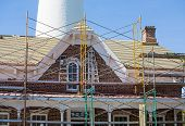 Scaffolding On Brick Keepers House By Lighthouse