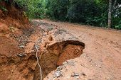 pic of landslide  - Road Landslide Damage in rural north Thailand - JPG
