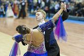 Minsk-belarus, February, 22: Unidentified Dance Couple Performs Youth-2 Standard European Program On