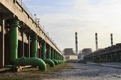 stock photo of chp  - scene of Thermal Power Plant and cool down water building - JPG