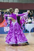 Minsk-belarus, February, 22: Unidentified Dance Couple Performs Juvenile-1 Standard European Program