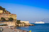 Nice, France, on October 16, 2012. View of the English promenade (Promenade des Anglais) and beach.