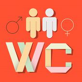 WC Title with Paper Cut People and Man Woman Symbols
