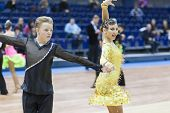 Minsk-belarus, February, 22: Unidentified Dance Couple Performs Youth-2 Latin-american Program On Mi