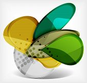 Abstract option infographics made of glossy big round shapes. Cartoon glass style