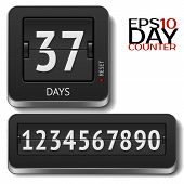 stock photo of analogy  - Analog 3D flip day counter isolated on white - JPG