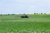 Tractor Nozzles Fertilizing Crops Field