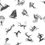 stock photo of parkour  - Extreme sports icon sketch seamless pattern of snorkeling surfing climbing vector illustration - JPG