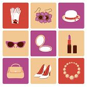 Woman accessories flat icon set