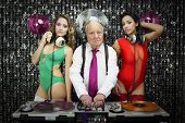 image of grandpa  - amazing grandpa DJ and his two beauitful gogo dancers - JPG