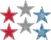 Vintage Style Grunge Vector Stars