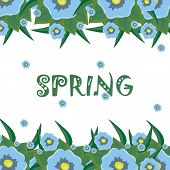 bright floral background with the word spring