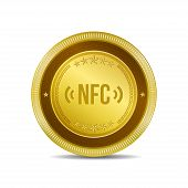 NFC Circular Vector Gold Web Icon Button