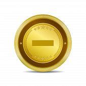 Minus Circular Vector Gold Web Icon Button