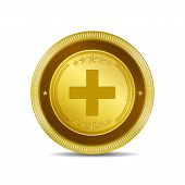 Plus Circular Vector Gold Web Icon Button