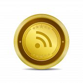 RSS Circular Vector Gold Web Icon Button