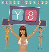 Vector set of mechanical scoreboard alphabet and women