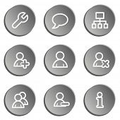 Users web icons , grey stickers set
