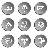 Communication web icons, grey stickers set