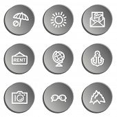 Travel  web icon set 5,  grey stickers set