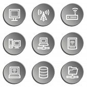 Network web icons , grey stickers set