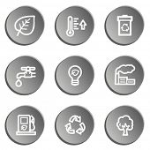 Ecology web icon set 1, grey stickers set