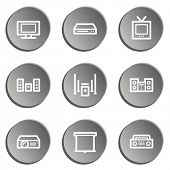 Audio video web icons, grey stickers set