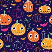 Seamless halloween pumpkin bats quirky illustration background pattern in vector