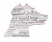 Canine Themed Dog Word Cloud Typography Illustration