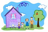 Vector kids sketch of happy family with house
