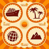 Travel icons in poster design